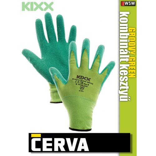 Cerva Kixx GROOVY GREEN textil kötötött latex kesztyű - munkakesztyű