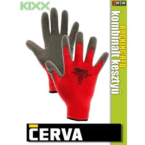 Cerva Kixx ROCKING RED textil kötötött latex kesztyű - munkakesztyű