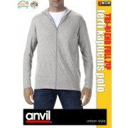 Anvil Tri-Blend férfi zipzáras kapucnis póló