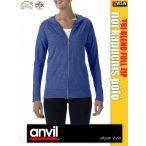 Anvil Tri-Blend női zipzáras kapucnis póló